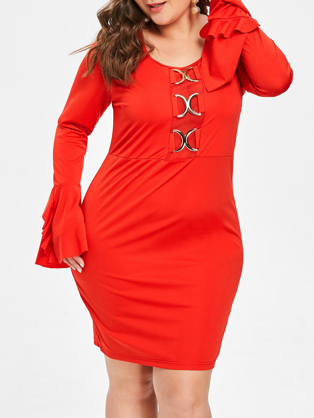 Discount Plus Size Flare Sleeve Mini Tight Dress