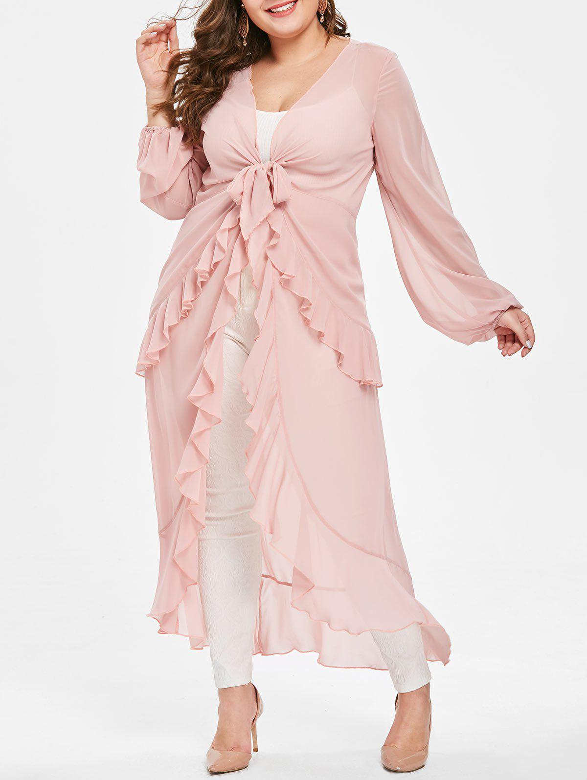 Latest Plus Size Sheer High Low Flounced Maxi Blouse