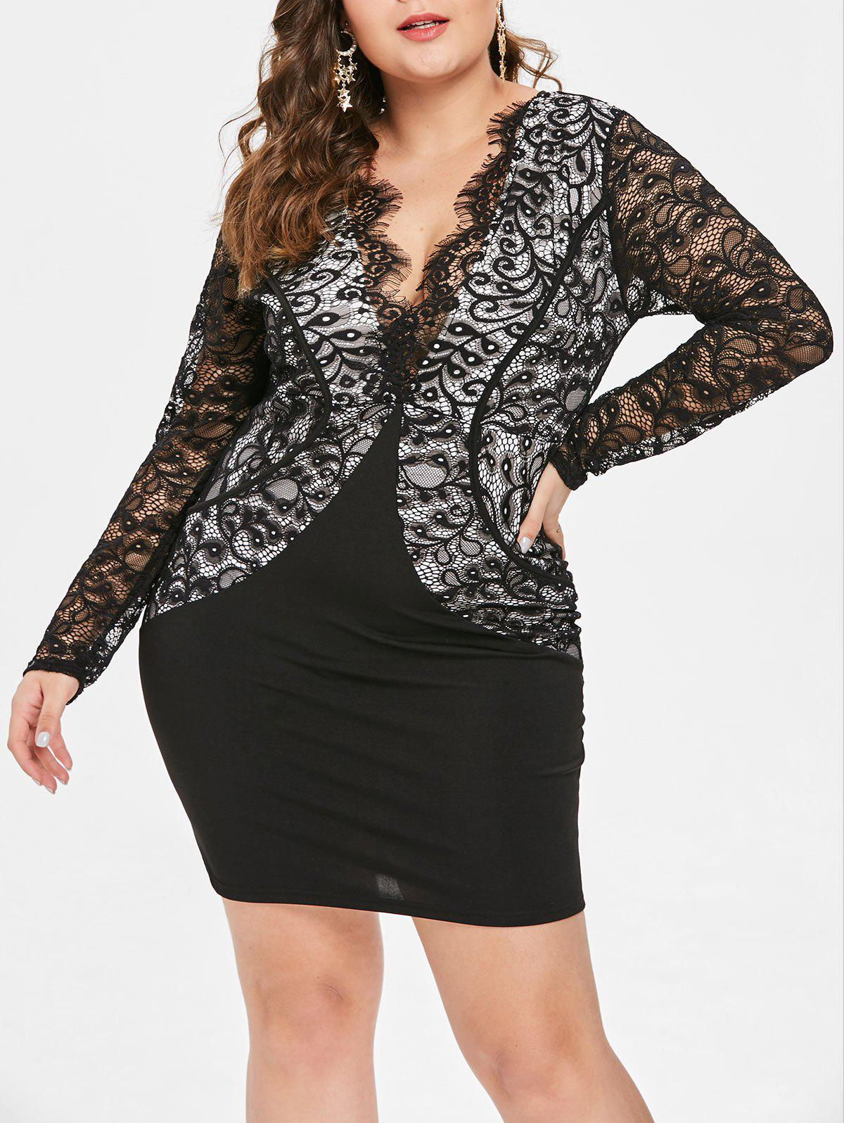 Plus Size Plunging Neckline Lace Insert Dress