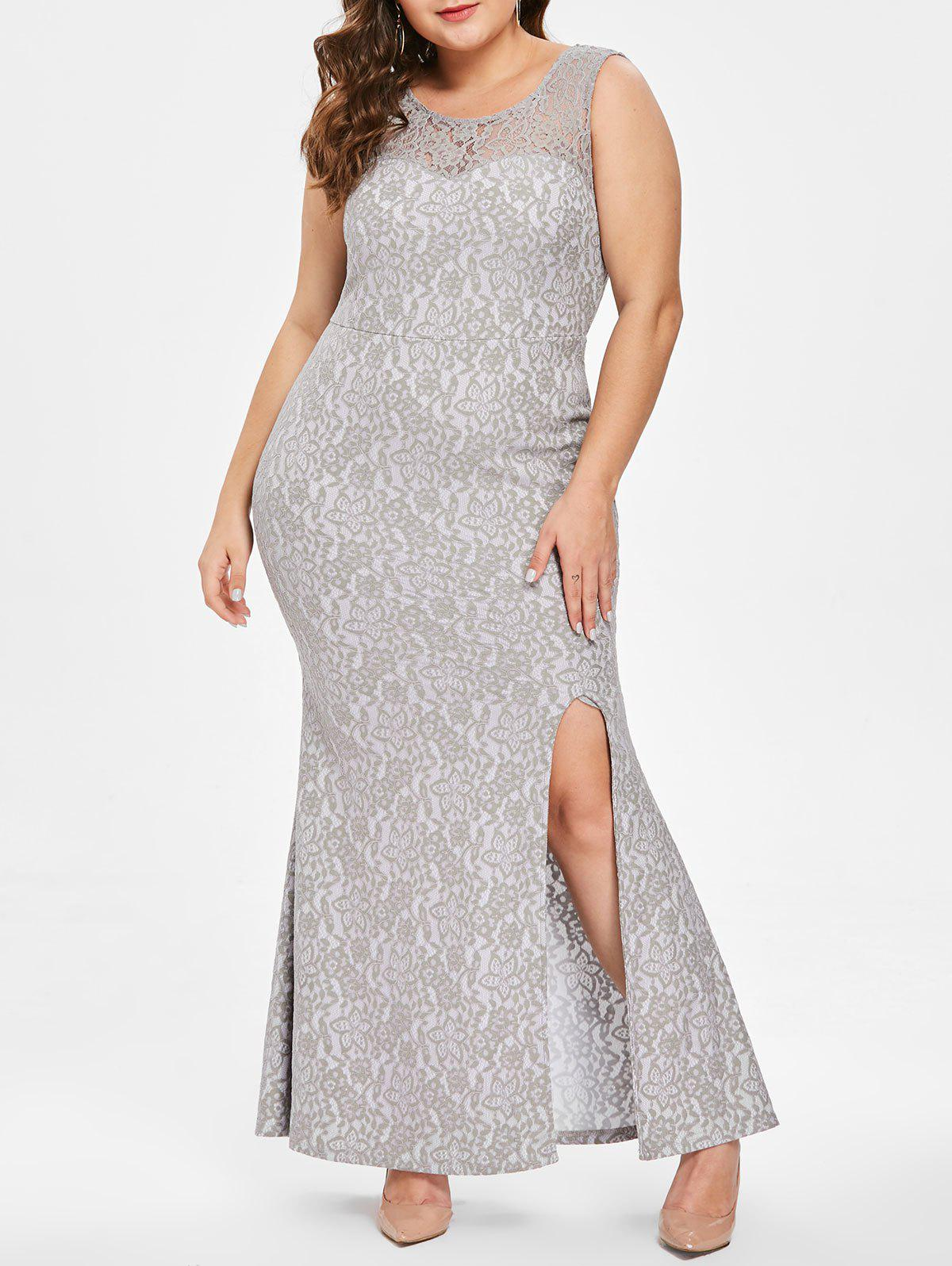 Plus Size Mother of The Slit Lace Bride Dress