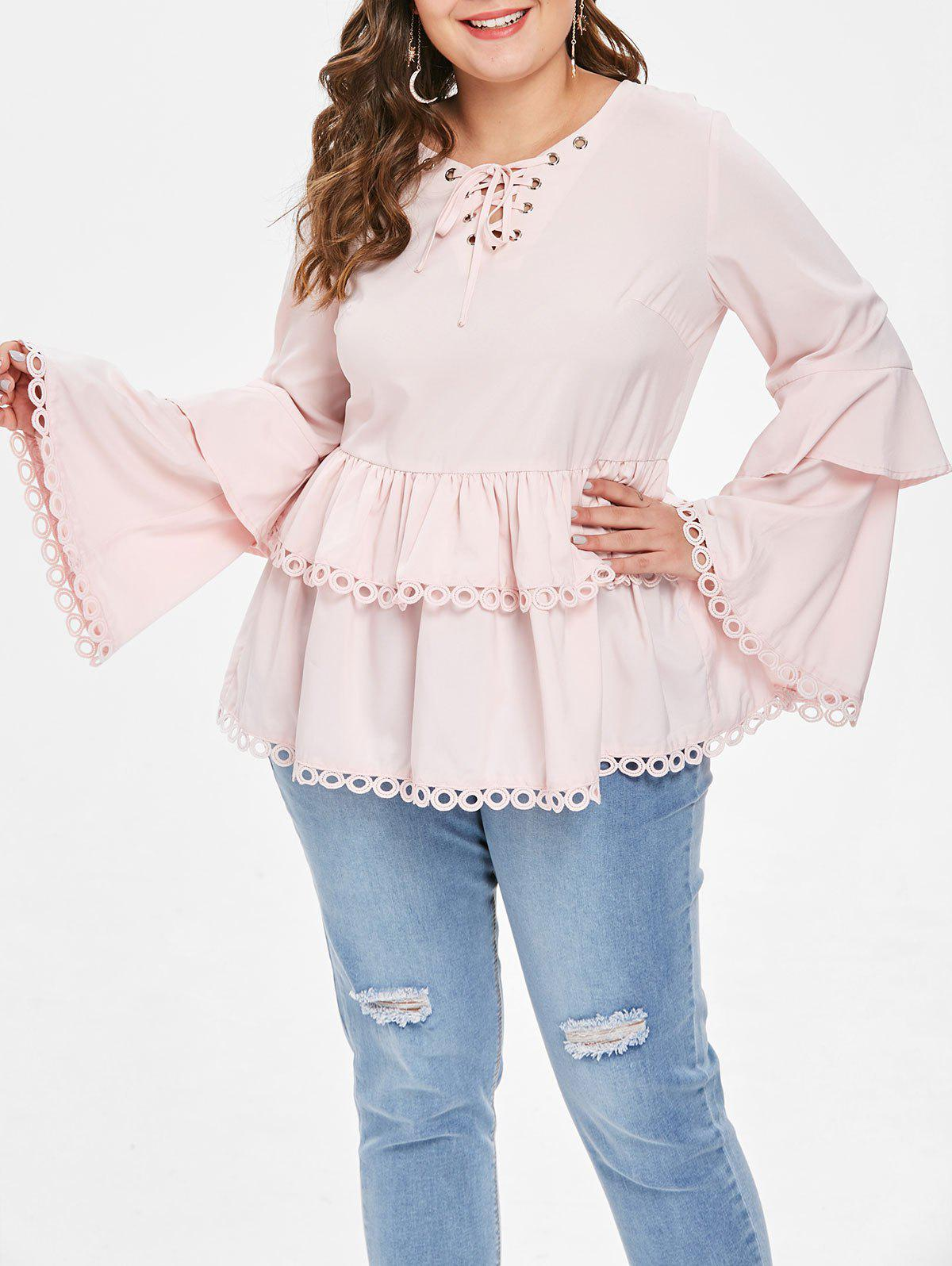 Outfit Plus Size Lace Hem Lace Up Flare Sleeves Frill Blouse