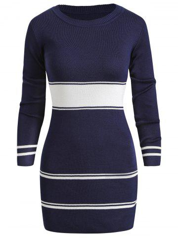 Color Block Striped Long Sleeve Knit Dress
