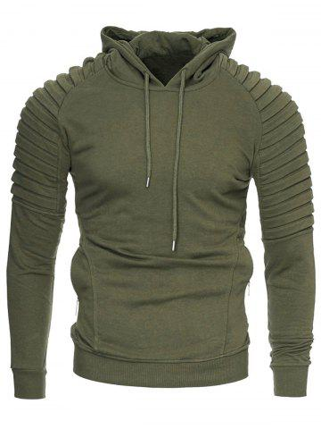 Casual Solid Pleated Zip Pocket Fleece Hoodie
