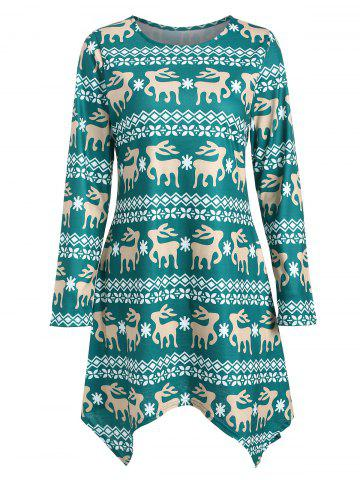2da217fd993 Asymmetric Christmas Deer Print Casual Dress
