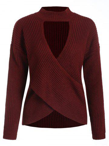 Cut Out Mock Neck Long Sleeve Sweater