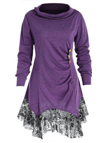 Lace Trim Plus Size Tunic T-shirt