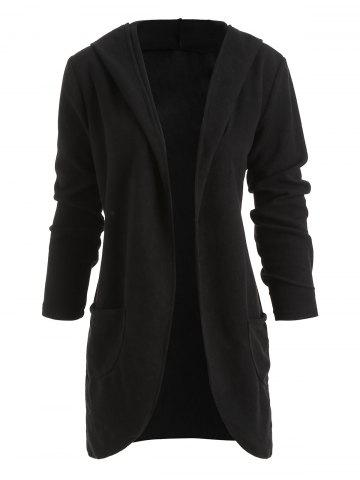 Hooded Fleece Pockets Long Coat