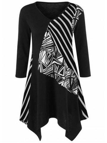 Geometric Pattern and Striped Print Plus Size Dress - BLACK - L