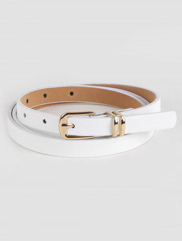 White Faux Leather Alloy Buckle Skinny Belt