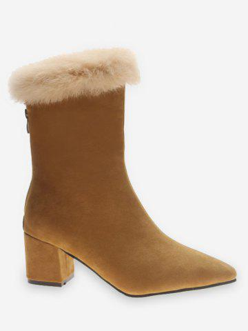Faux Fur Pointed Toe Suede Boots