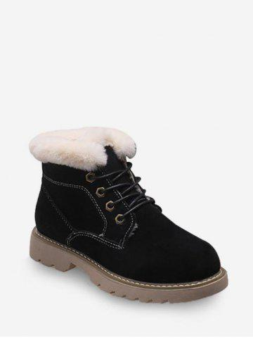 Fuzzy Trim Lace Up Ankle Boots