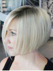 Short Side Bang Ombre Straight Human Hair Wig -