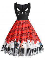 Plus Size Musical Note Cat Graphic Flare Dress -