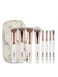 8 Pcs Wooden Handle Soft Hair Makeup Brush Set with Marble Brush Bag -
