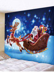 Christmas Reindeer And Santa Claus Print Wall Tapestry -
