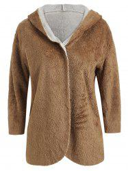 Hooded Faux Fur Open Coat -