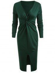 Front Knot Plunging Neckline Bodycon Dress -