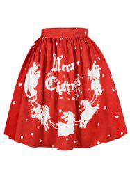 Plus Size Christmas Letters Sled Print Skirt -