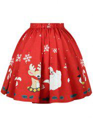 Plus Size Christmas Mid Calf Printed Skirt -