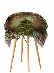 Merry Christmas Tree Wooden Printed Fabric Waterproof Table Cloth -