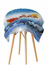 Father Christmas Deer Print Fabric Waterproof Table Cloth -