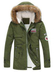 Faux Fur Hood Appliques Fluffy Lined Jacket -