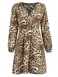Leopard Print Long Sleeve Wrap Dress -