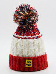Fuzzy Ball Knitting Flanging Beanie -