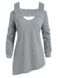 Grommet Embellished Plus Size Cold Shoulder T-shirt -