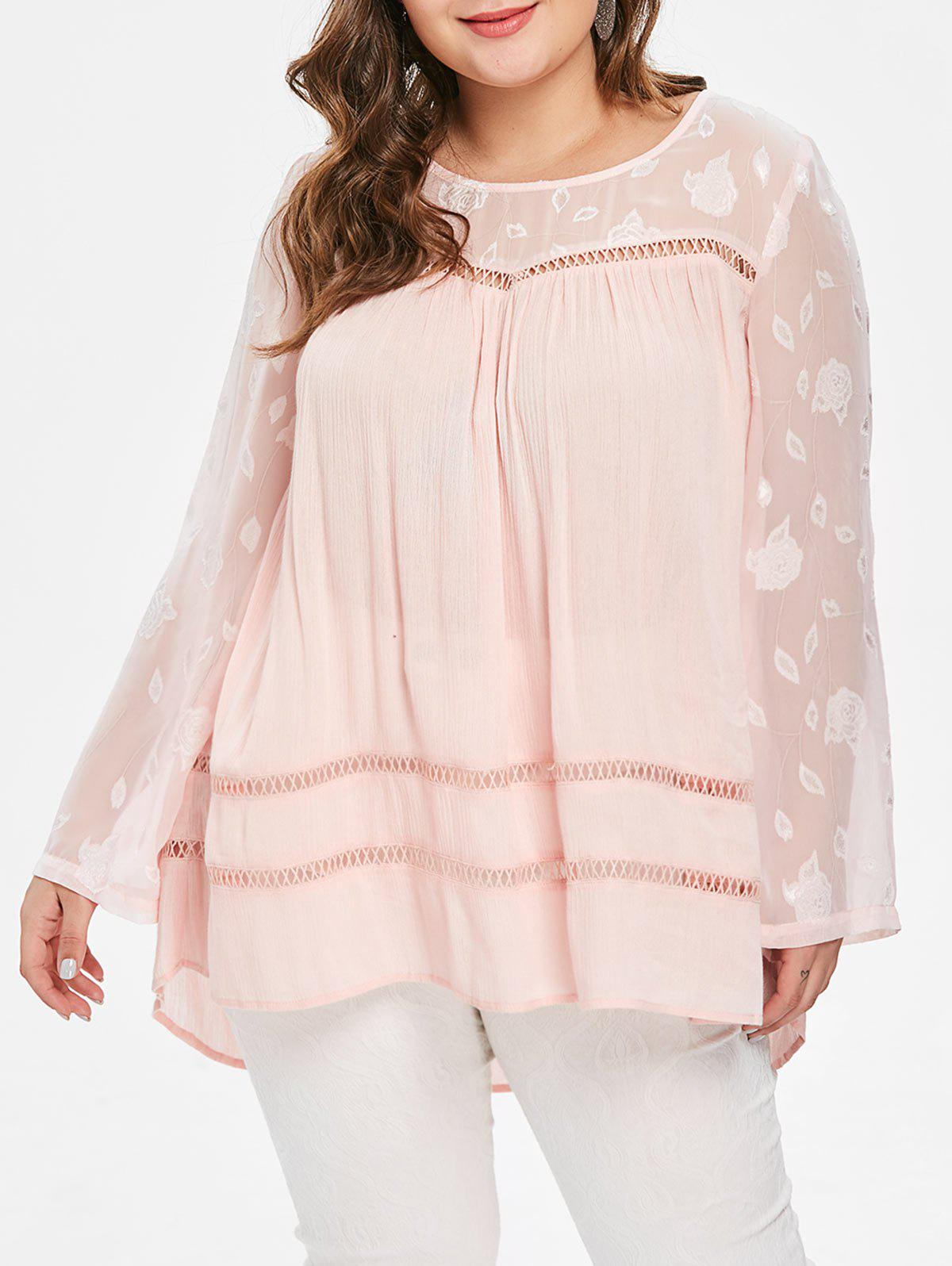 Discount Plus Size Spliced Hollow Out Tunic Top