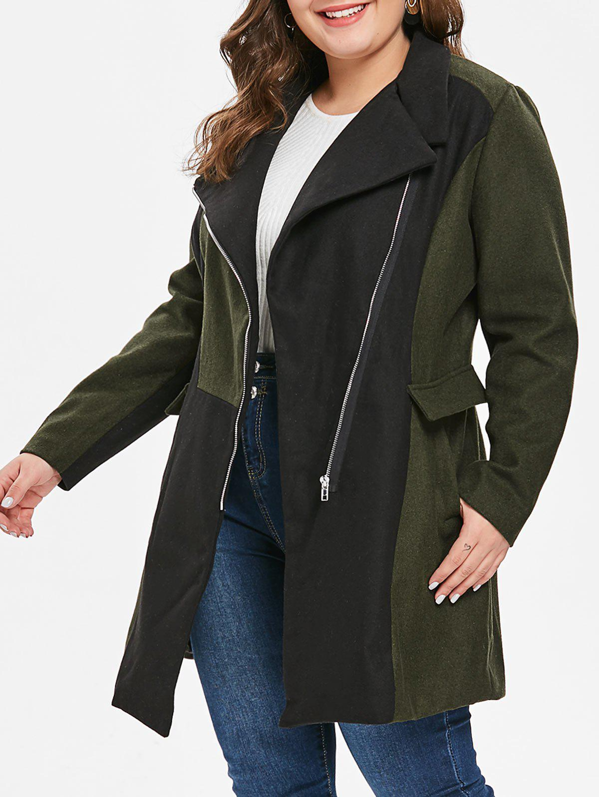 Outfits Plus Size Two Tone Woollen Coat
