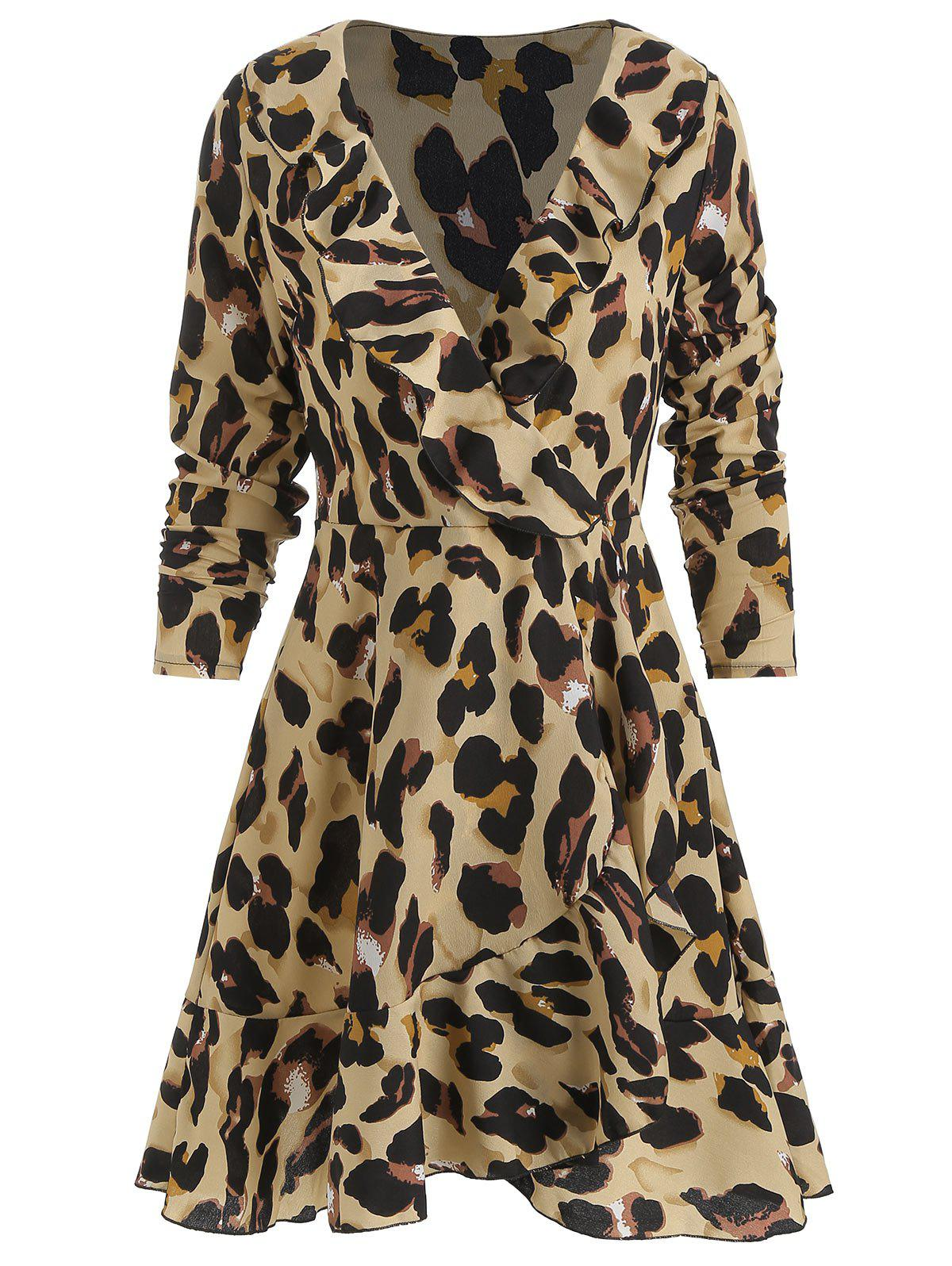 Outfit Ruffle Leopard Print Wrap Dress