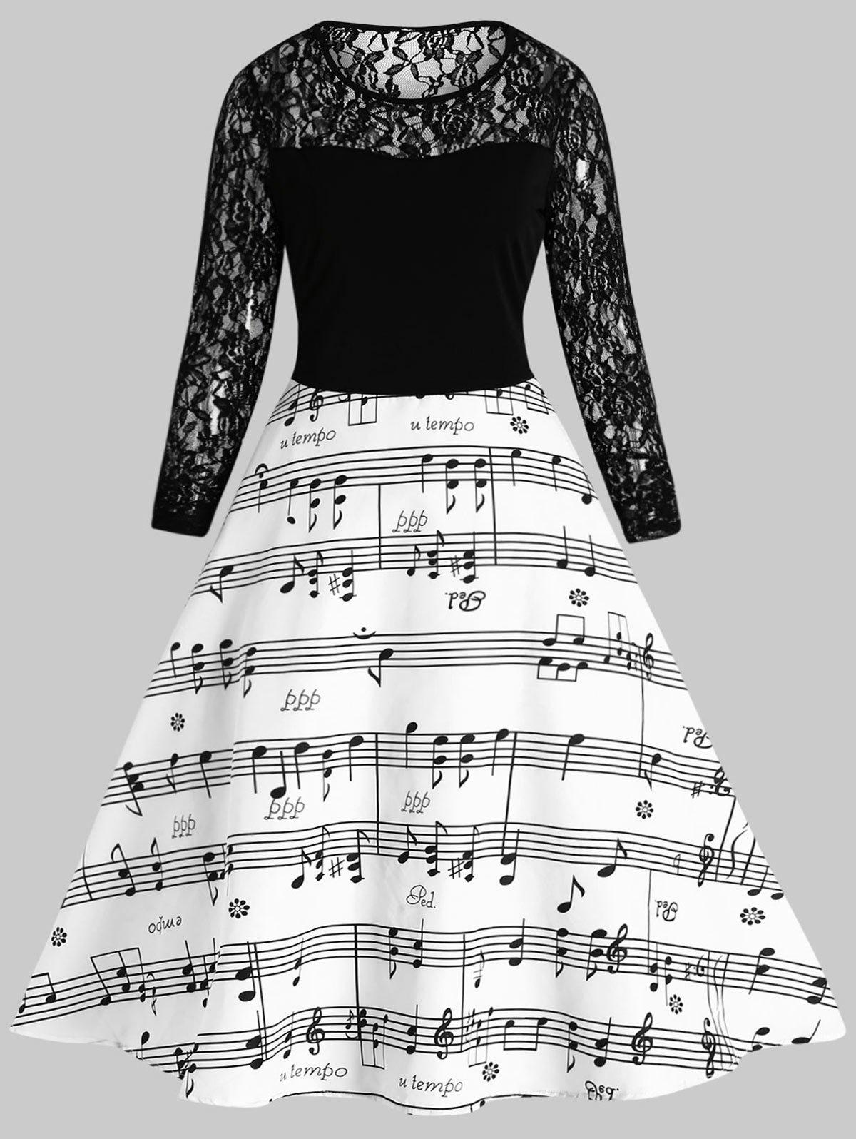 Cheap Lace Panel Music Note Vintage Dress