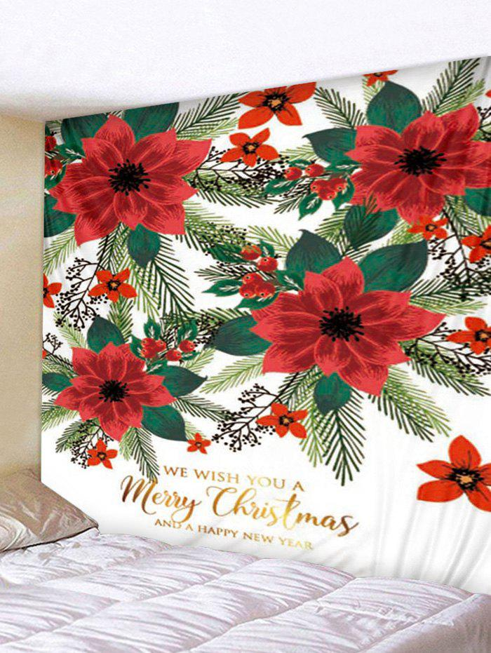 New Beautiful Flowers Merry Christmas Print Wall Tapestry