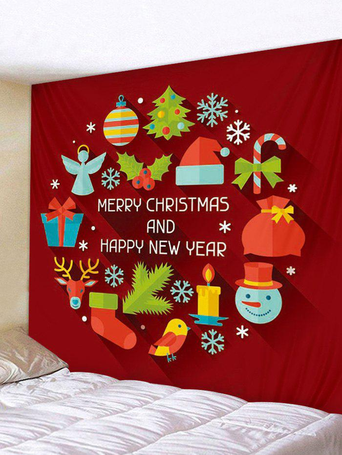 Shops Cute Cartoon Christmas Elements Print Wall Hanging Tapestry