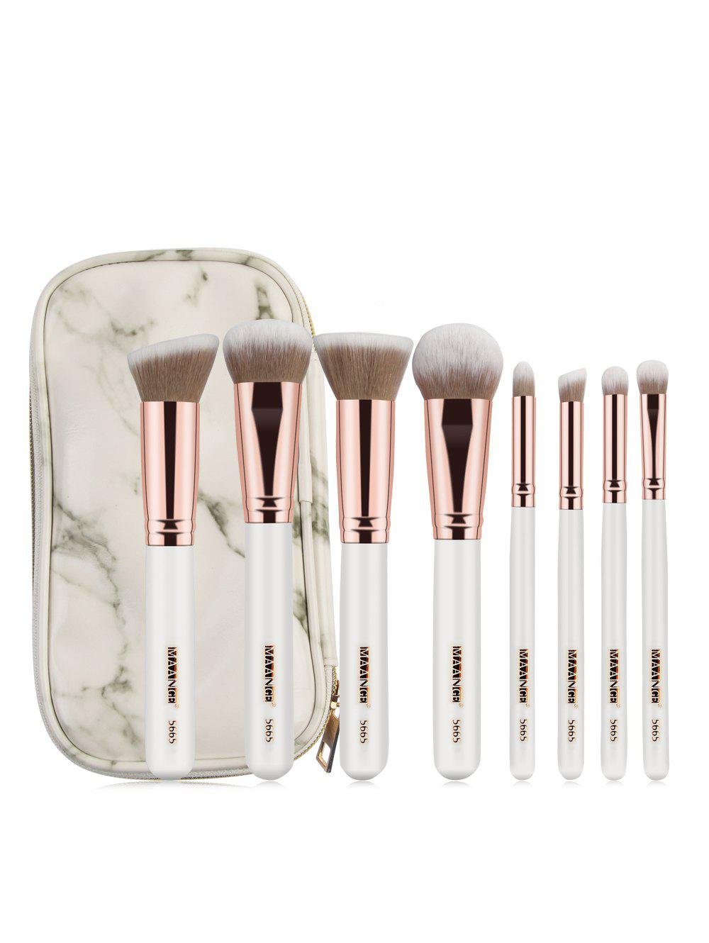 Buy 8 Pcs Wooden Handle Soft Hair Makeup Brush Set with Marble Brush Bag