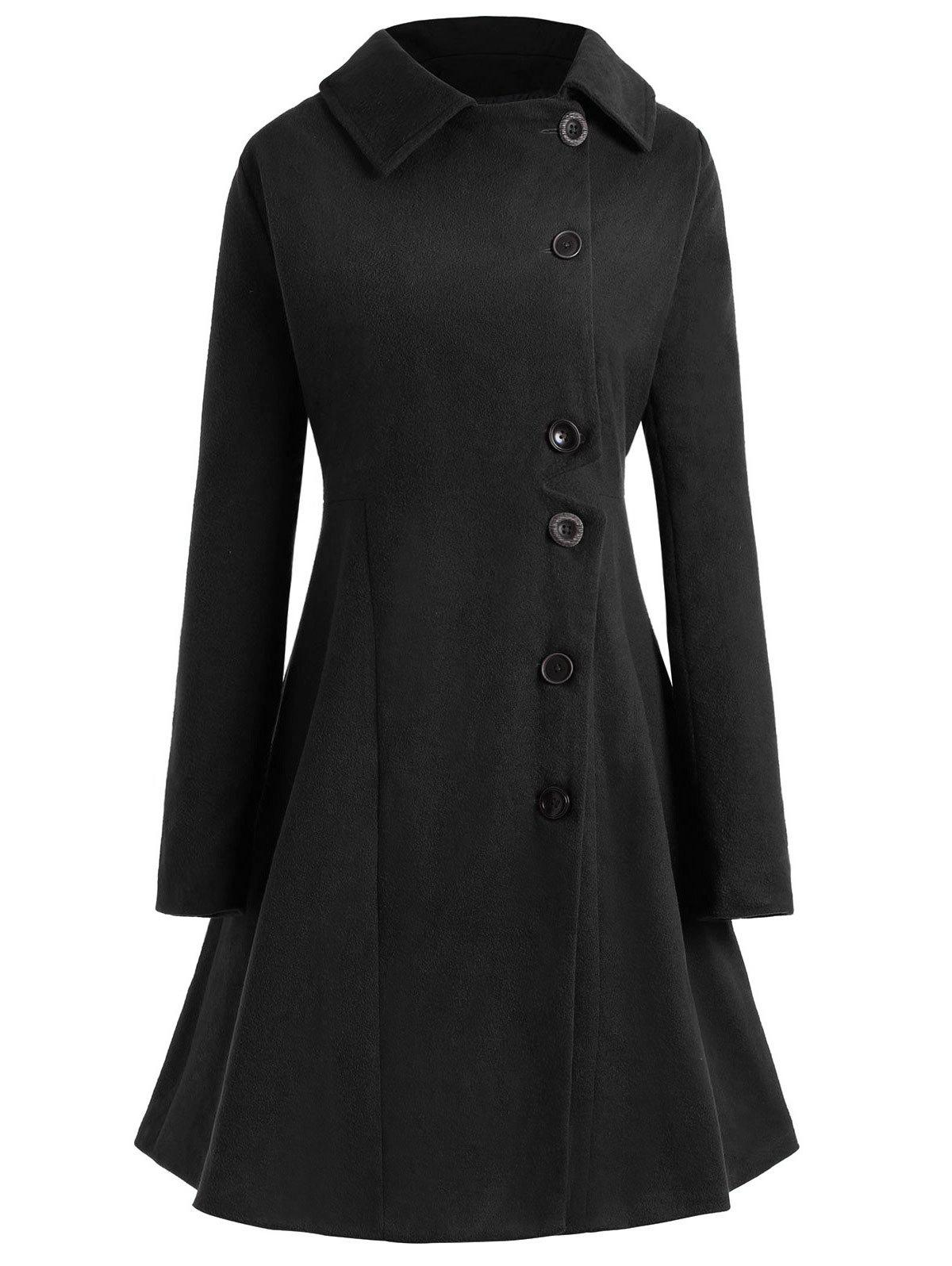 Outfits Plus Size Hooded Flare Coat