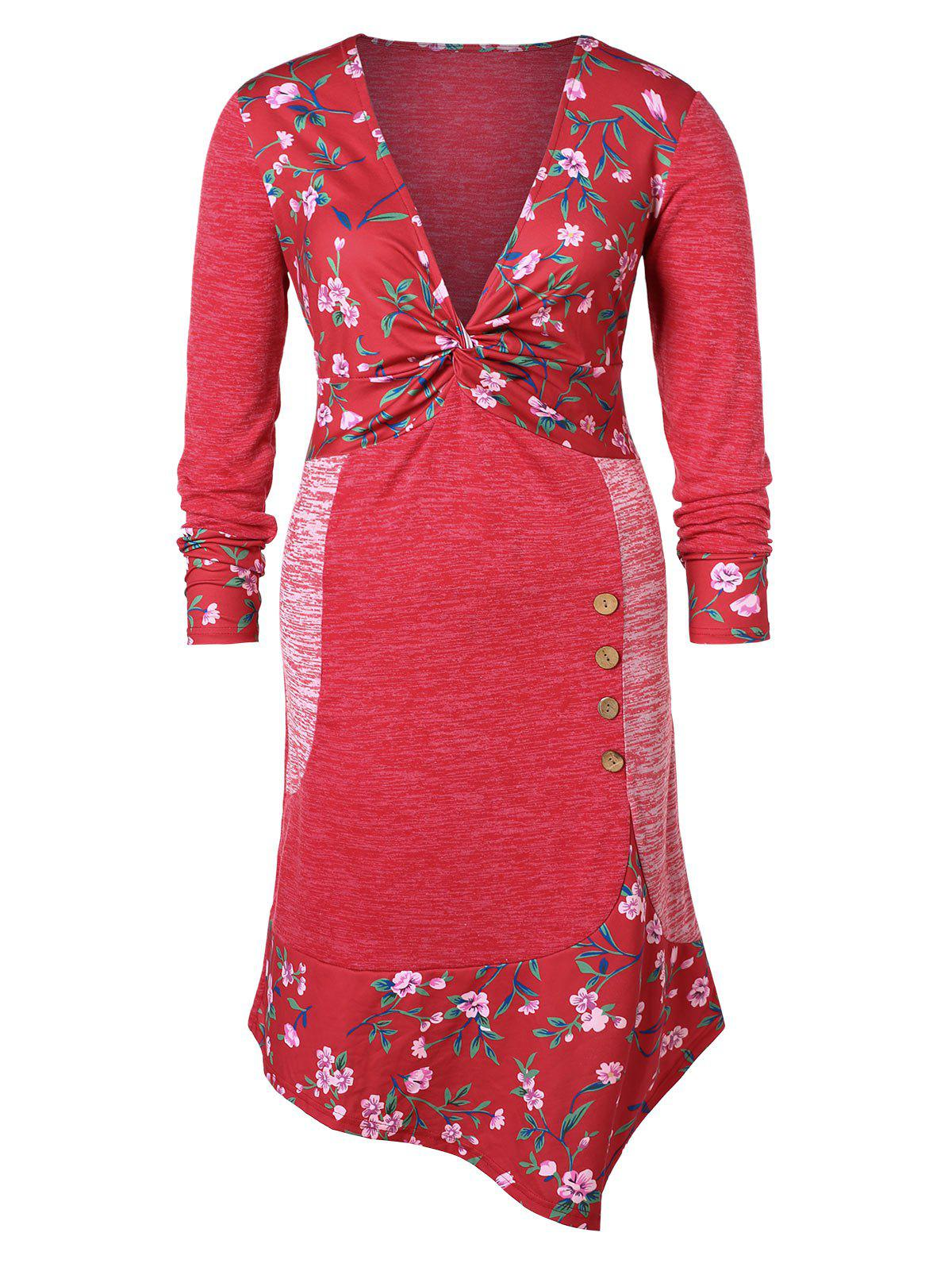 Affordable Plus Size Floral Buttoned High Low Dress