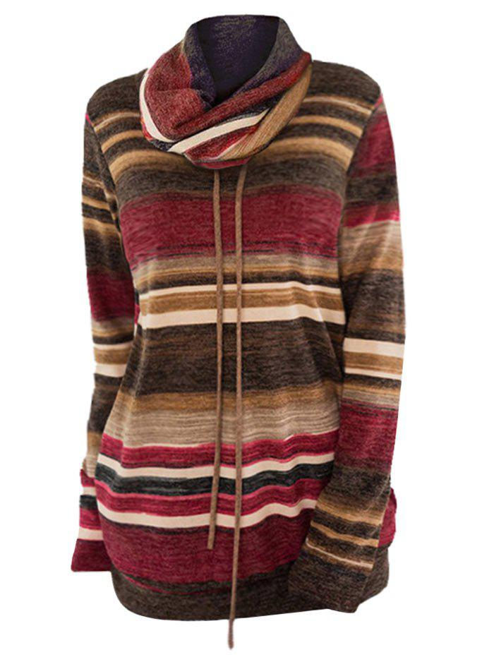Sale Plus Size Pullover Color Block Striped Sweatshirt