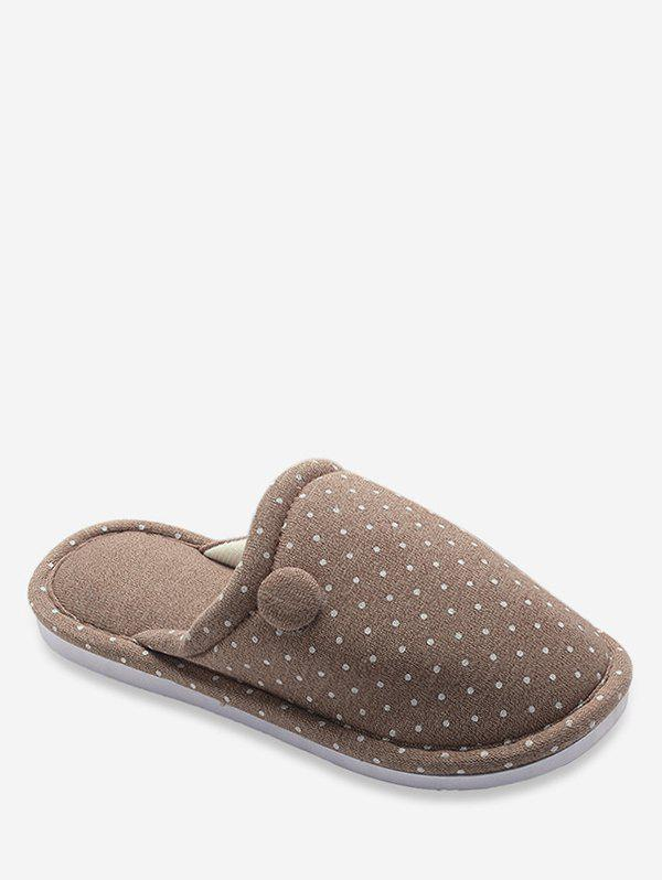 Outfit Flower Embellished Polka Dot Winter Slippers