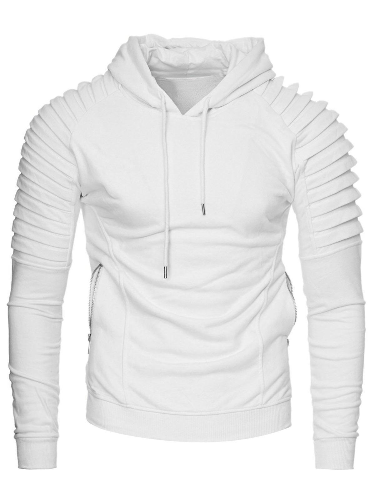 6145df572 2019 Casual Solid Pleated Zip Pocket Fleece Hoodie