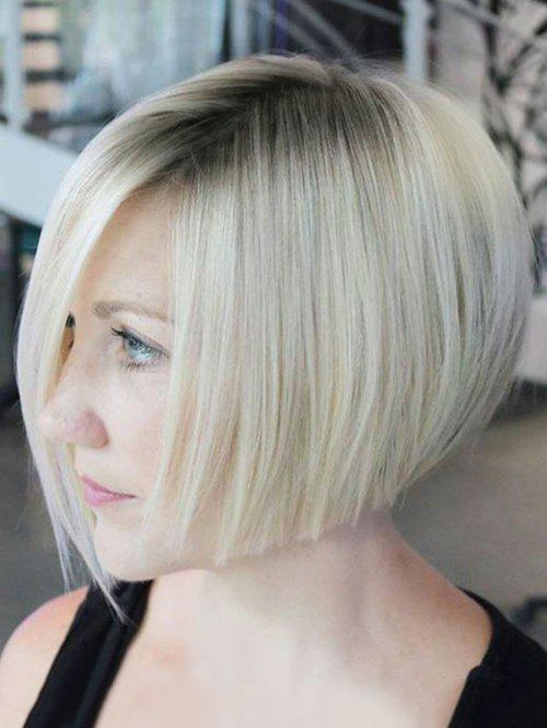 Chic Short Side Bang Ombre Straight Human Hair Wig