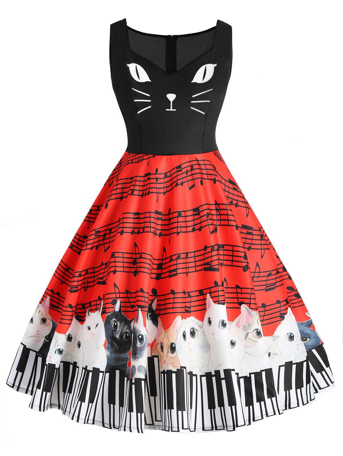 Outfits Plus Size Musical Note Cat Graphic Flare Dress