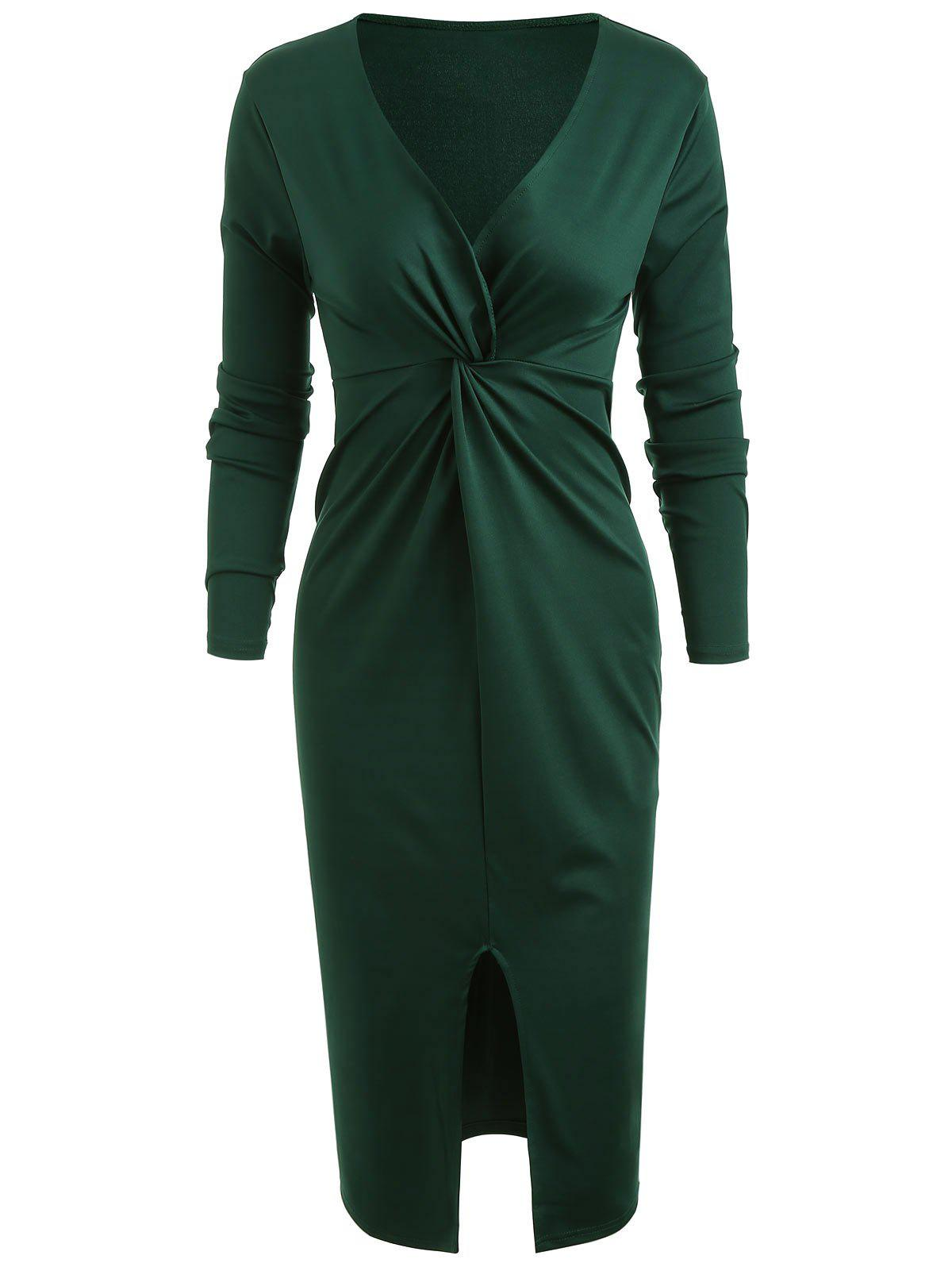 Shop Front Knot Plunging Neckline Bodycon Dress