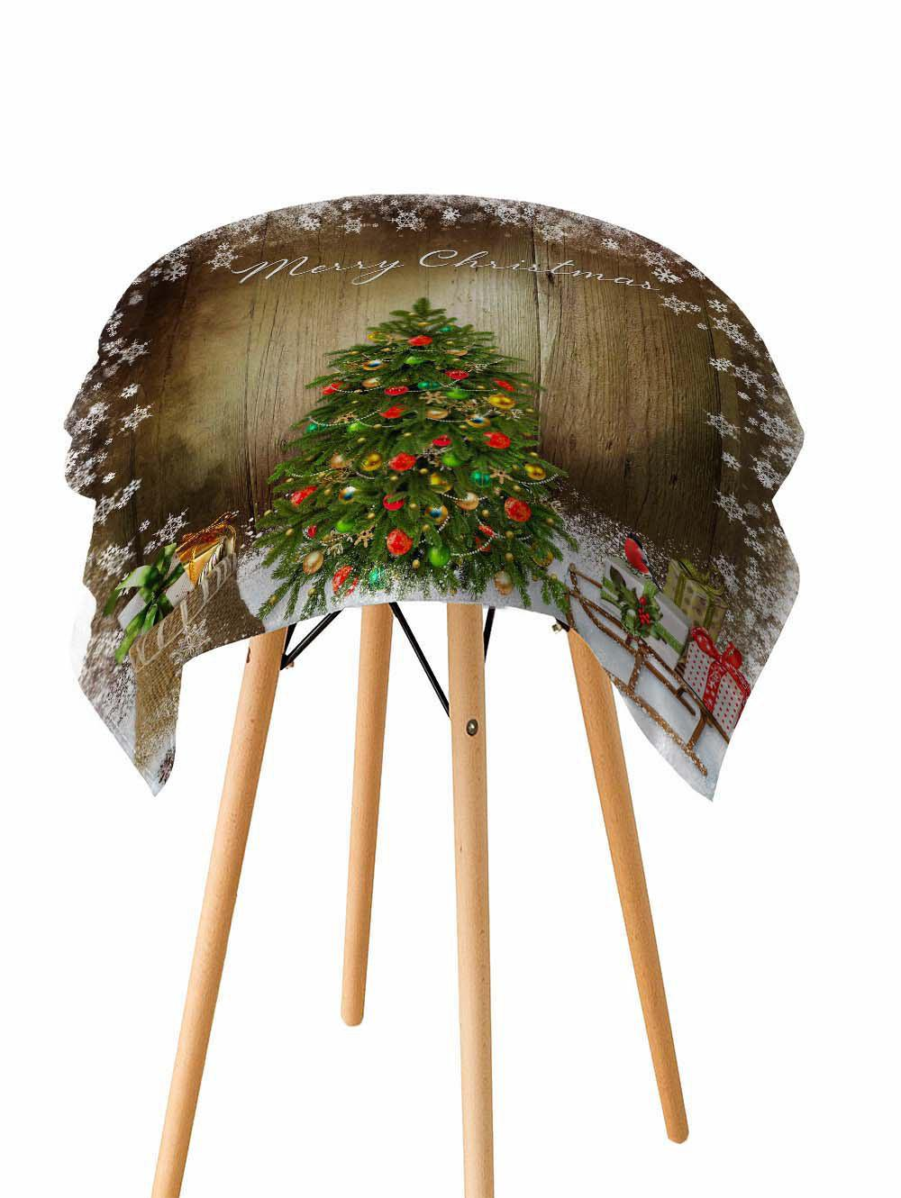 Chic Merry Christmas Tree Wooden Printed Fabric Waterproof Table Cloth