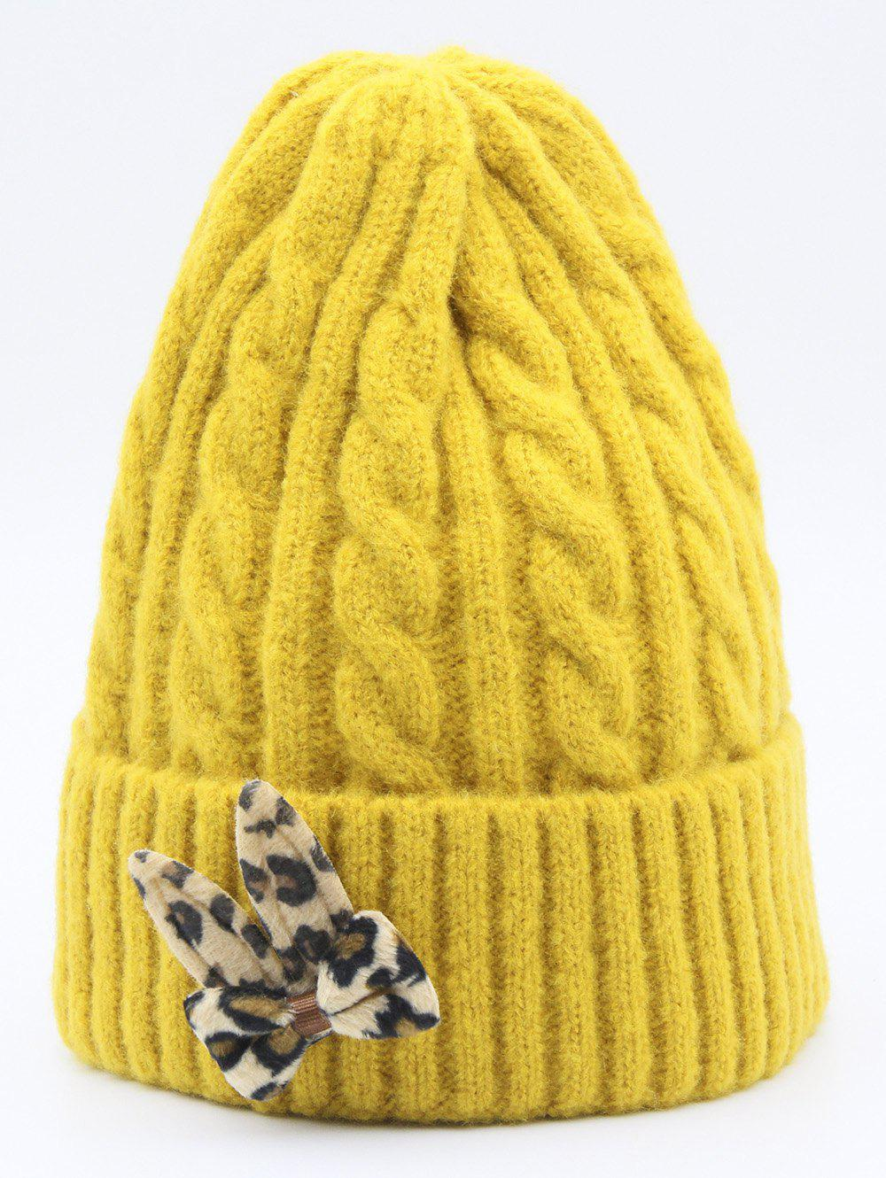Buy Leopard Bowknot Flanging Knit Cap