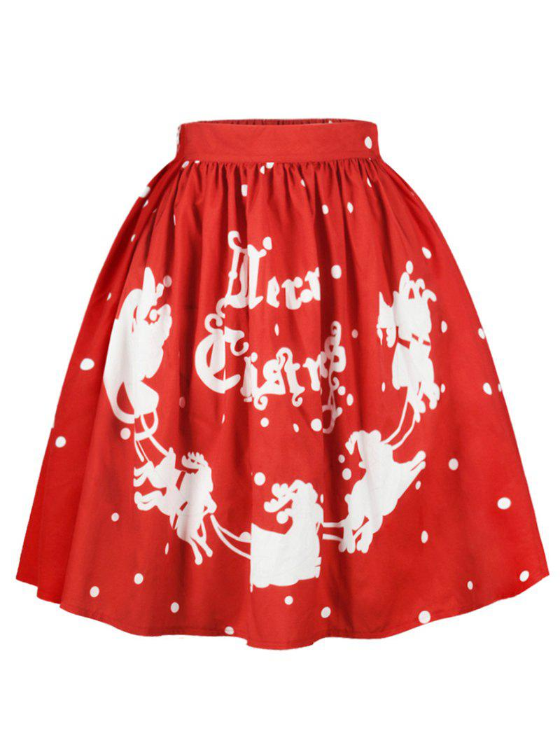 Hot Plus Size Christmas Letters Sled Print Skirt