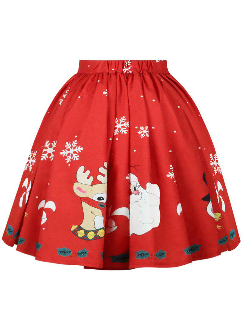 Best Plus Size Christmas Mid Calf Printed Skirt