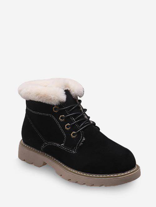 Shops Fuzzy Trim Lace Up Ankle Boots