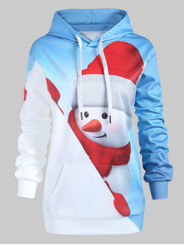 Plus Size Pullover Christmas Snowman Front Pocket Hoodie